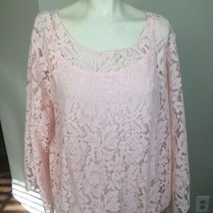 Alfani blouse lace pink sleeve long size XL